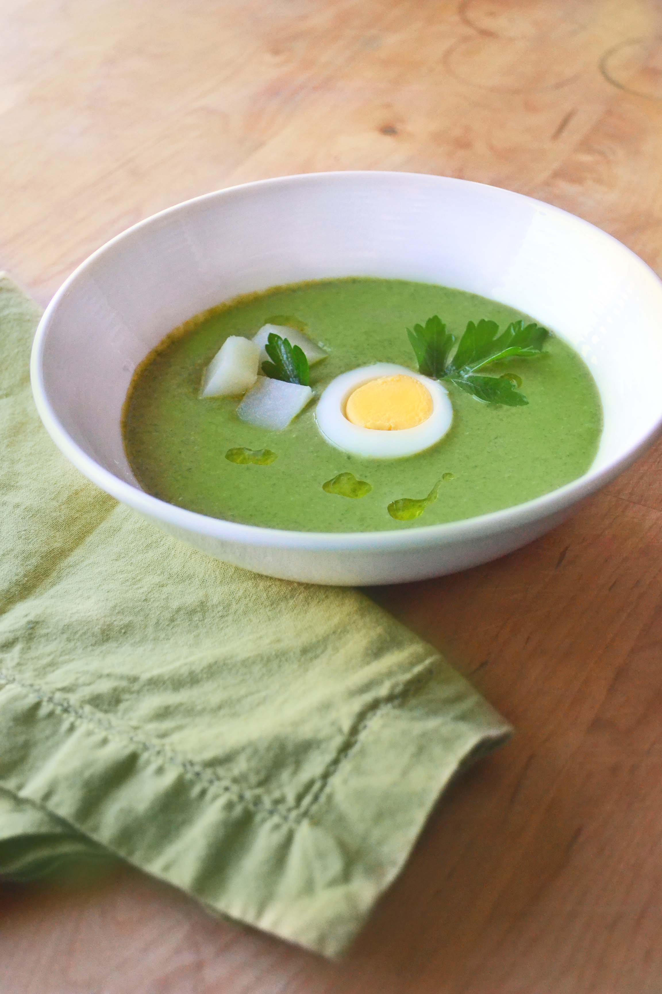 Chilled Sorrel, Potato, And Leek Soup